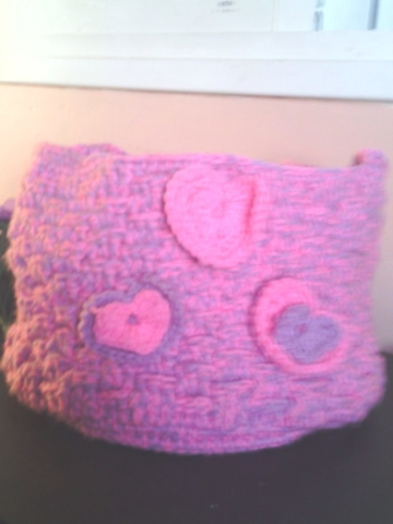 Crochet basket with hearts