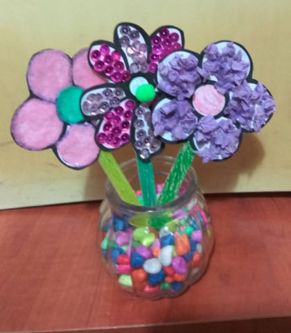 Paper flower craft for children,