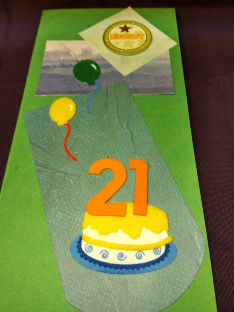 Handmade birthday card twenty-first green and orange