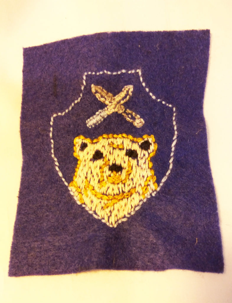 handmade embroidery bear and knifes patch