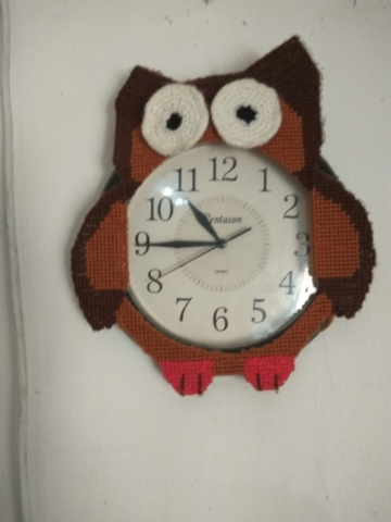 Handmade Plastic canvas Owl clock