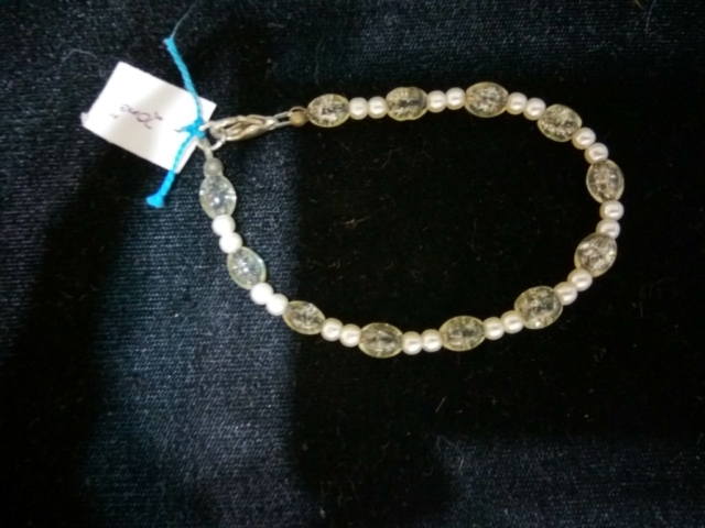 handmade White pearl bead and clear sparkle bead bracelet