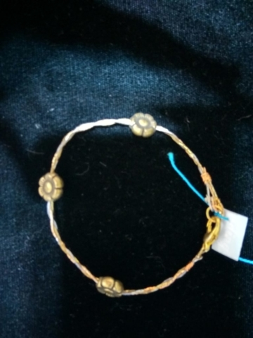 handmade Three strand braided gold flower bracelet