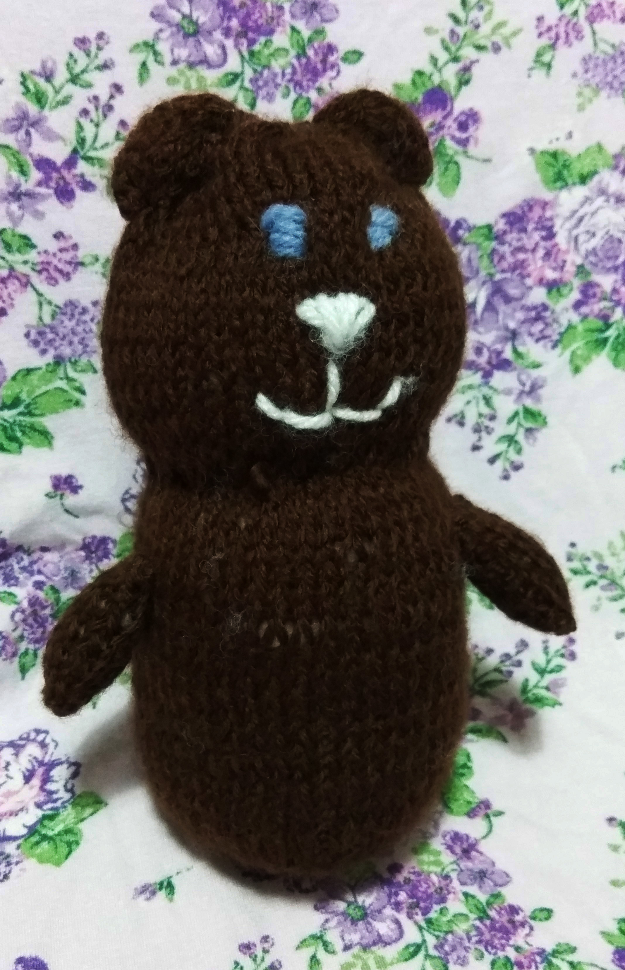 easy knit bear one square brown stuffed bear
