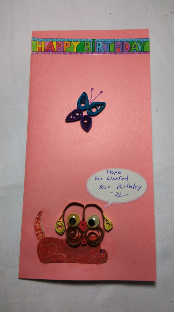 Handmade Quilled dog and butterfly birthday card