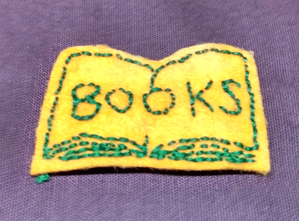 handmade felt books patch in yellow and green