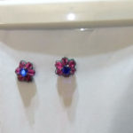 handmade wire red and blue bead earrings