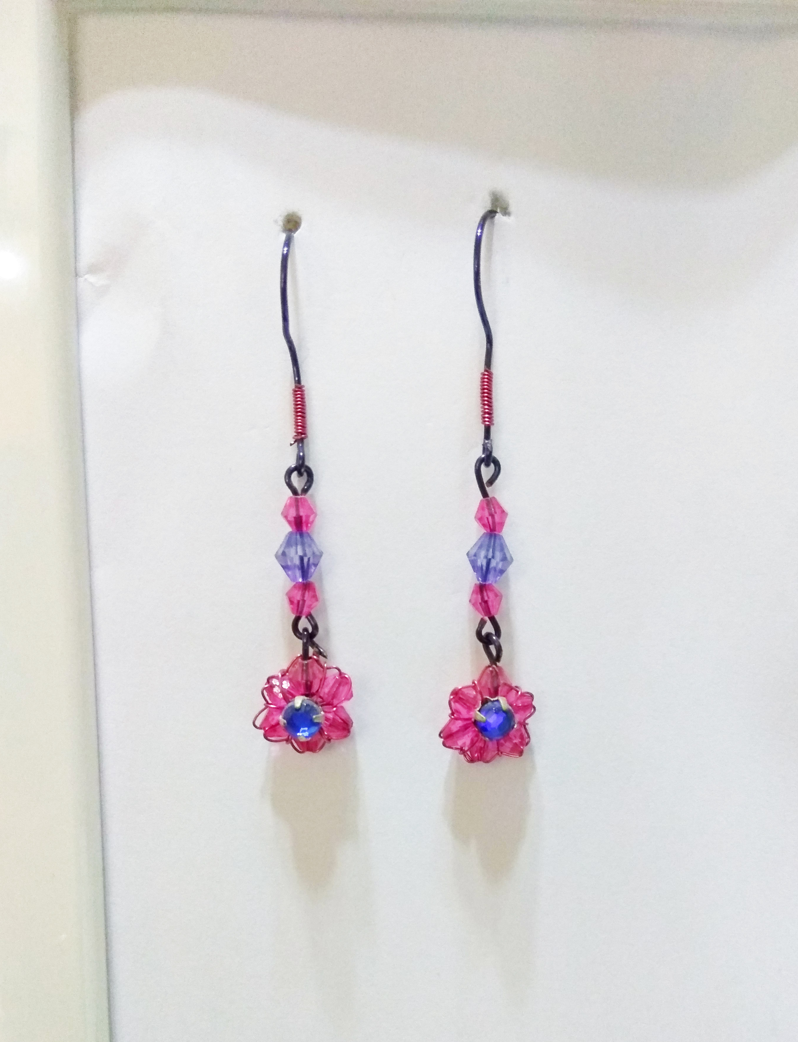 handmade wire pink and blue bead dangle earrings