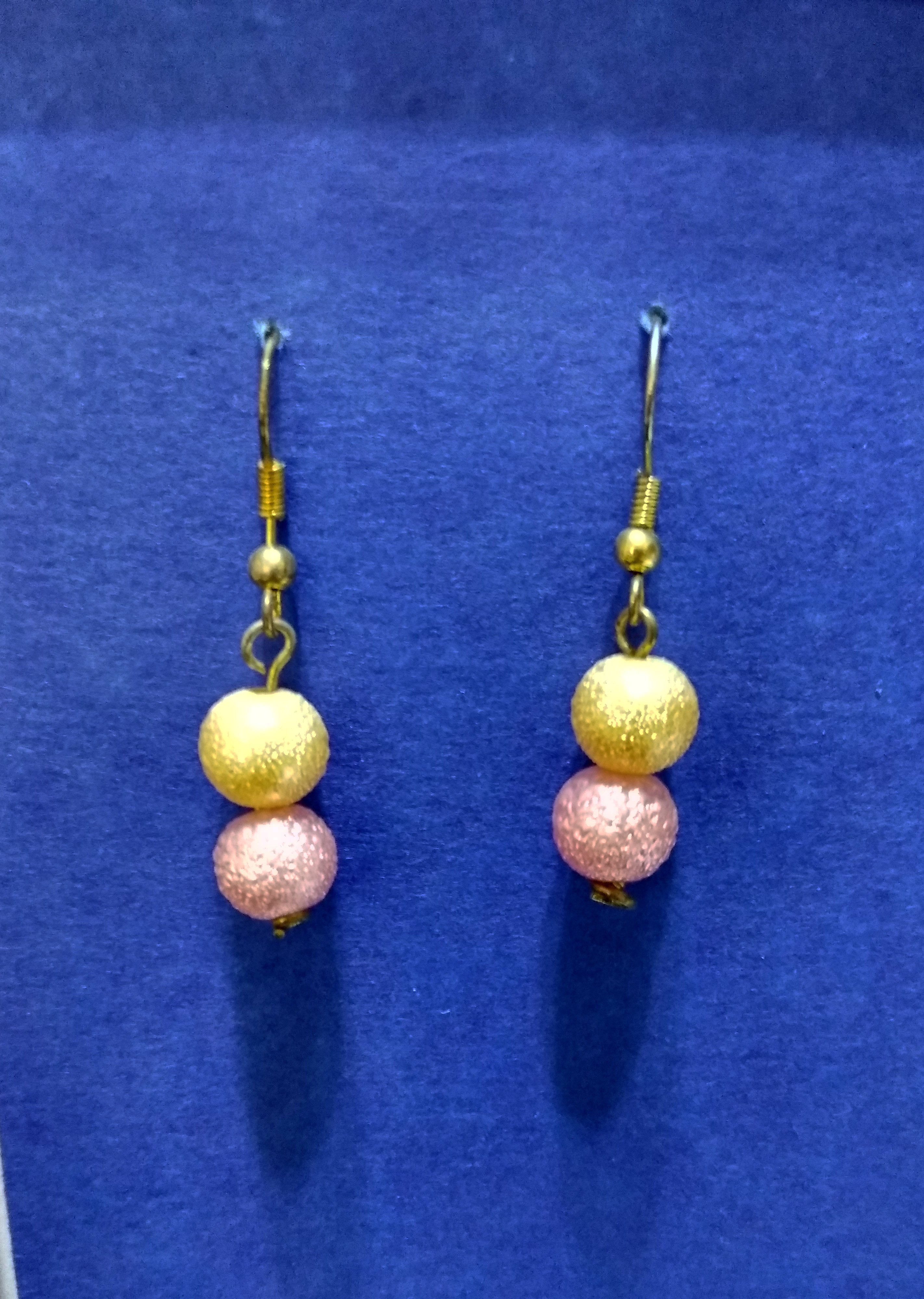 handmade pink and gold sparkle pearl bead earrings