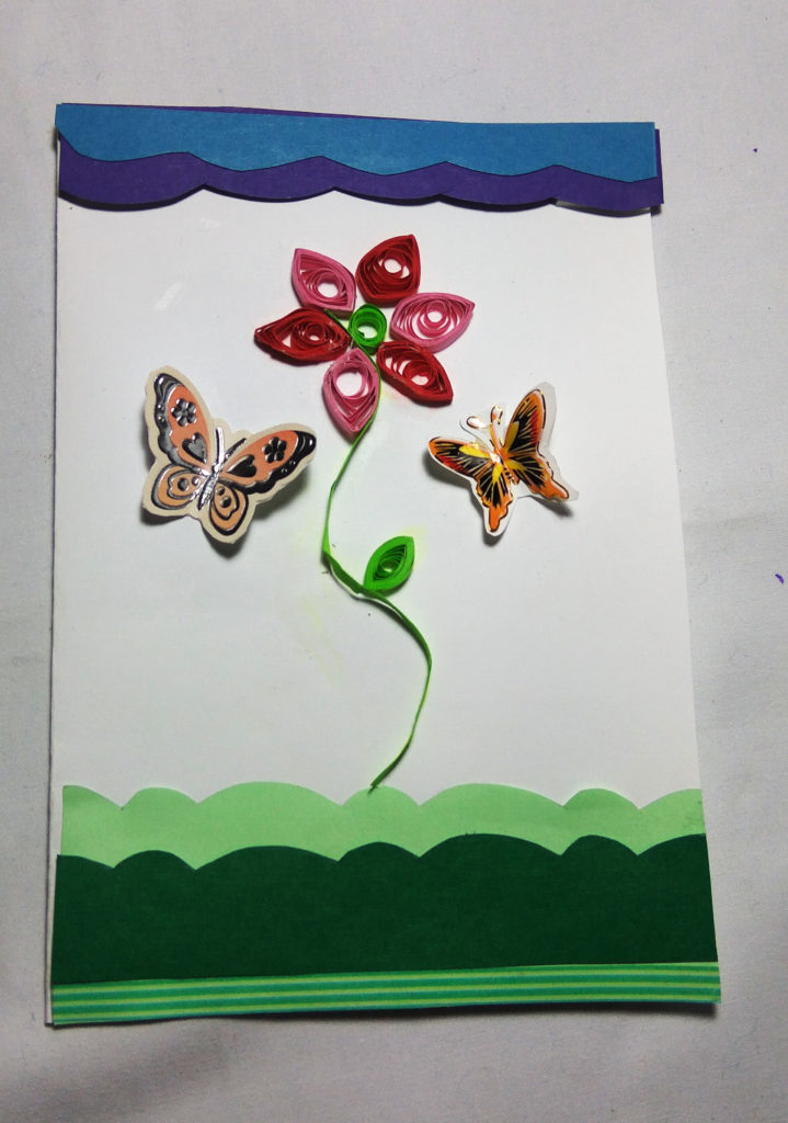 handmade butterfly and quilled flower card