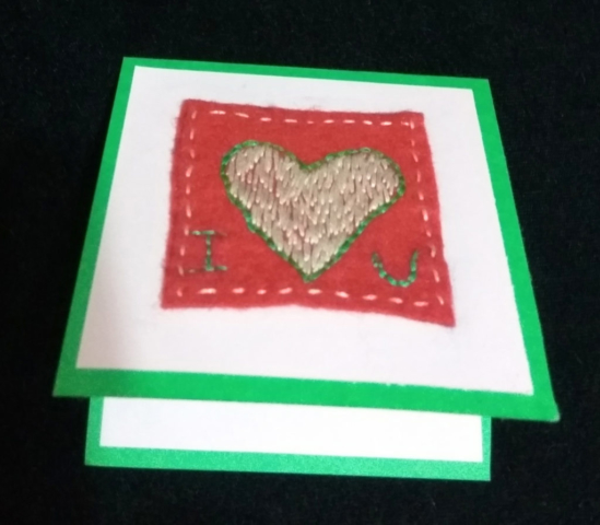 handmade friendship I heart u card