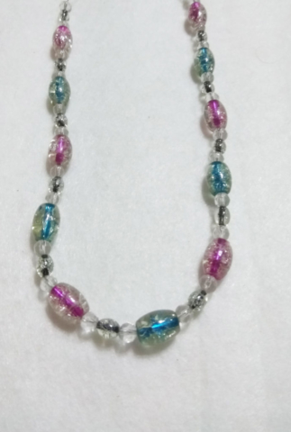 handmade Blue and Purple bead necklace