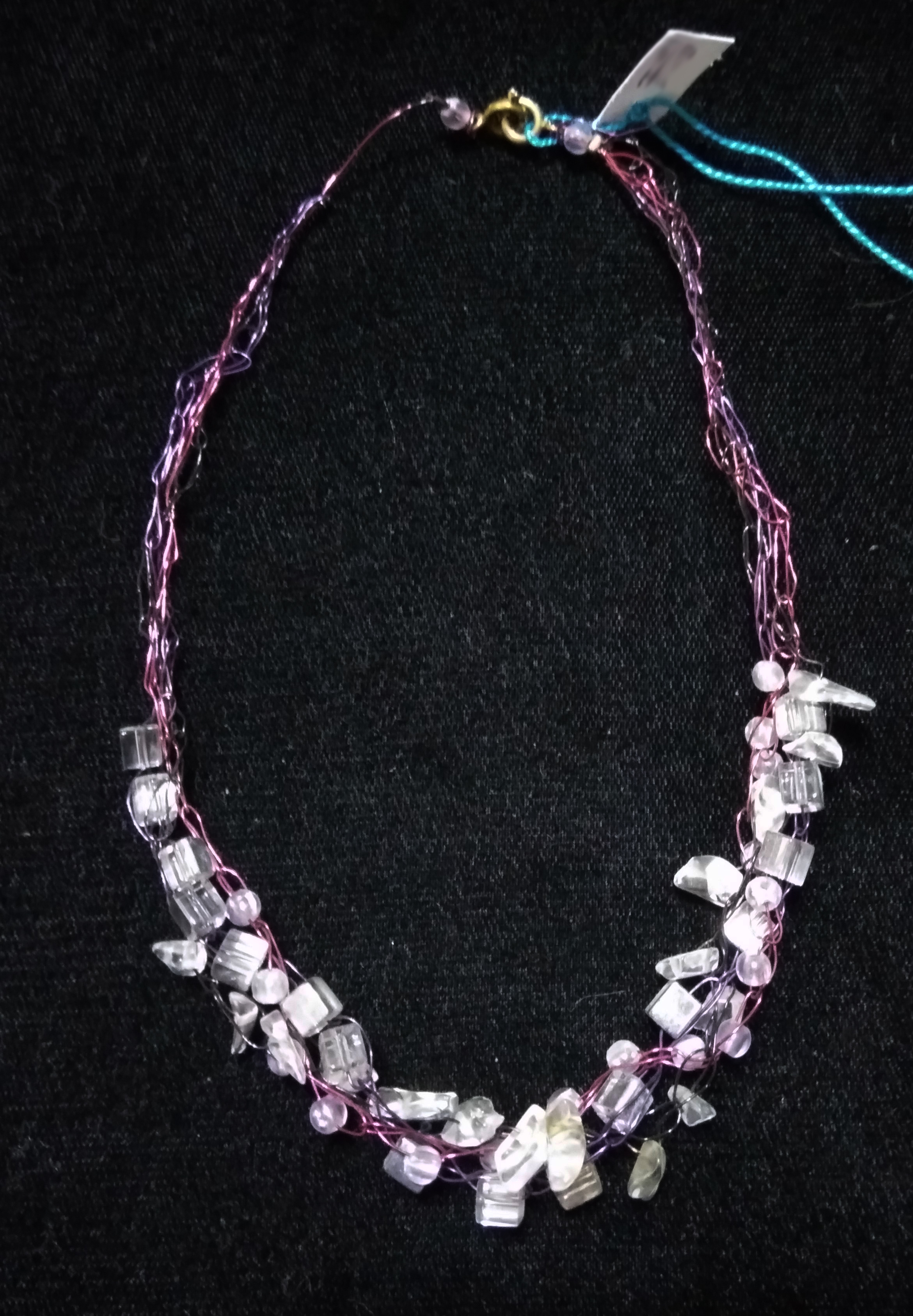 handmade Wire crochet clear bead necklace