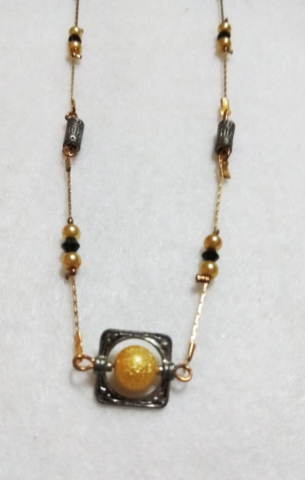 handmade Gold and black bead gold necklace
