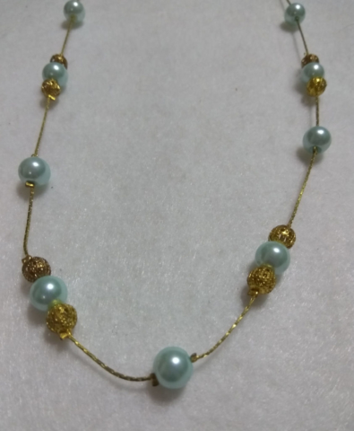 handmade Blue pearl and gold bead necklace