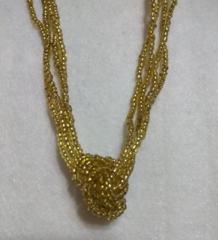handmade gold bead twist necklace