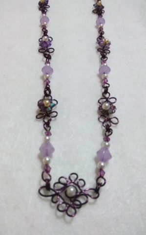 handmade pearl bead and Purple wire twist and purple bead flower necklace