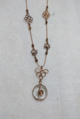 handmade Gold wire twist flower necklace