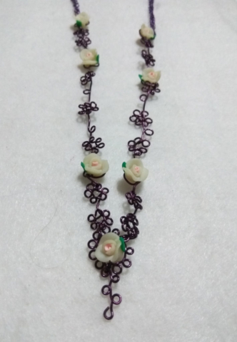 handmade Purple wire twist white clay flower necklace