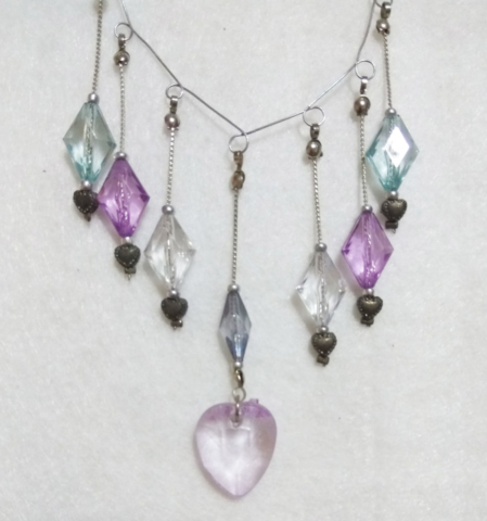 handmade Clear bead multi pendant necklace