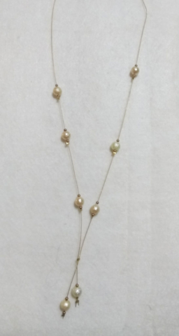 handmade gold wire and pearl bead necklace
