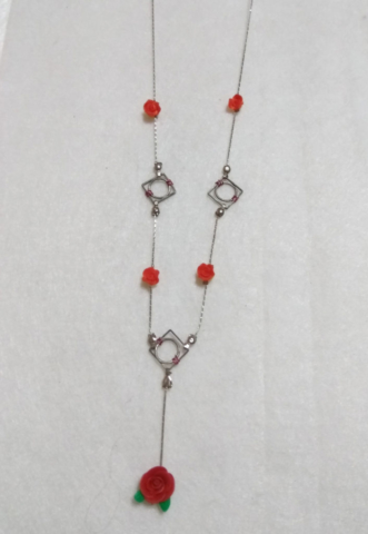 handmade Red  clay flower and silver necklace
