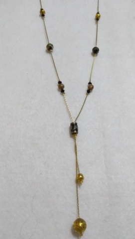 handmade gold and black bead necklace