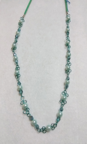 handmade turquoise wire twist and pearl bead necklace