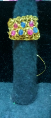 handmade Gold crochet and bead ring