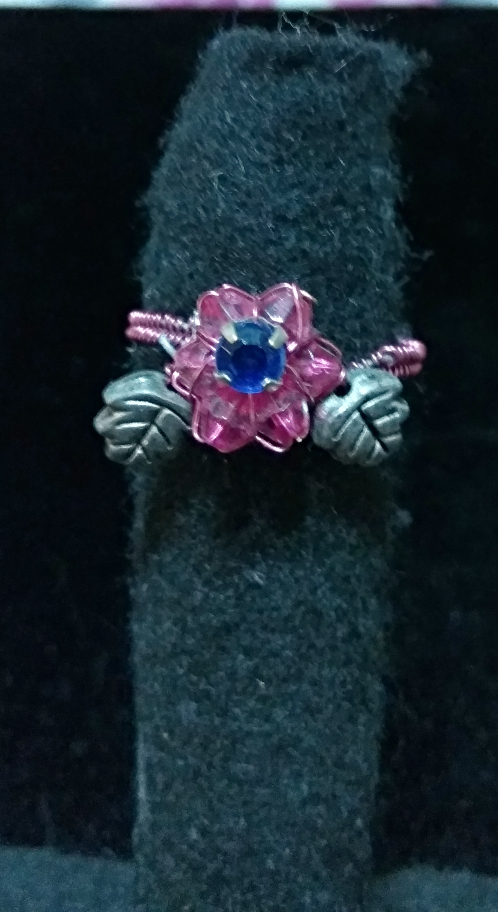 handmade Pink bead flower ring