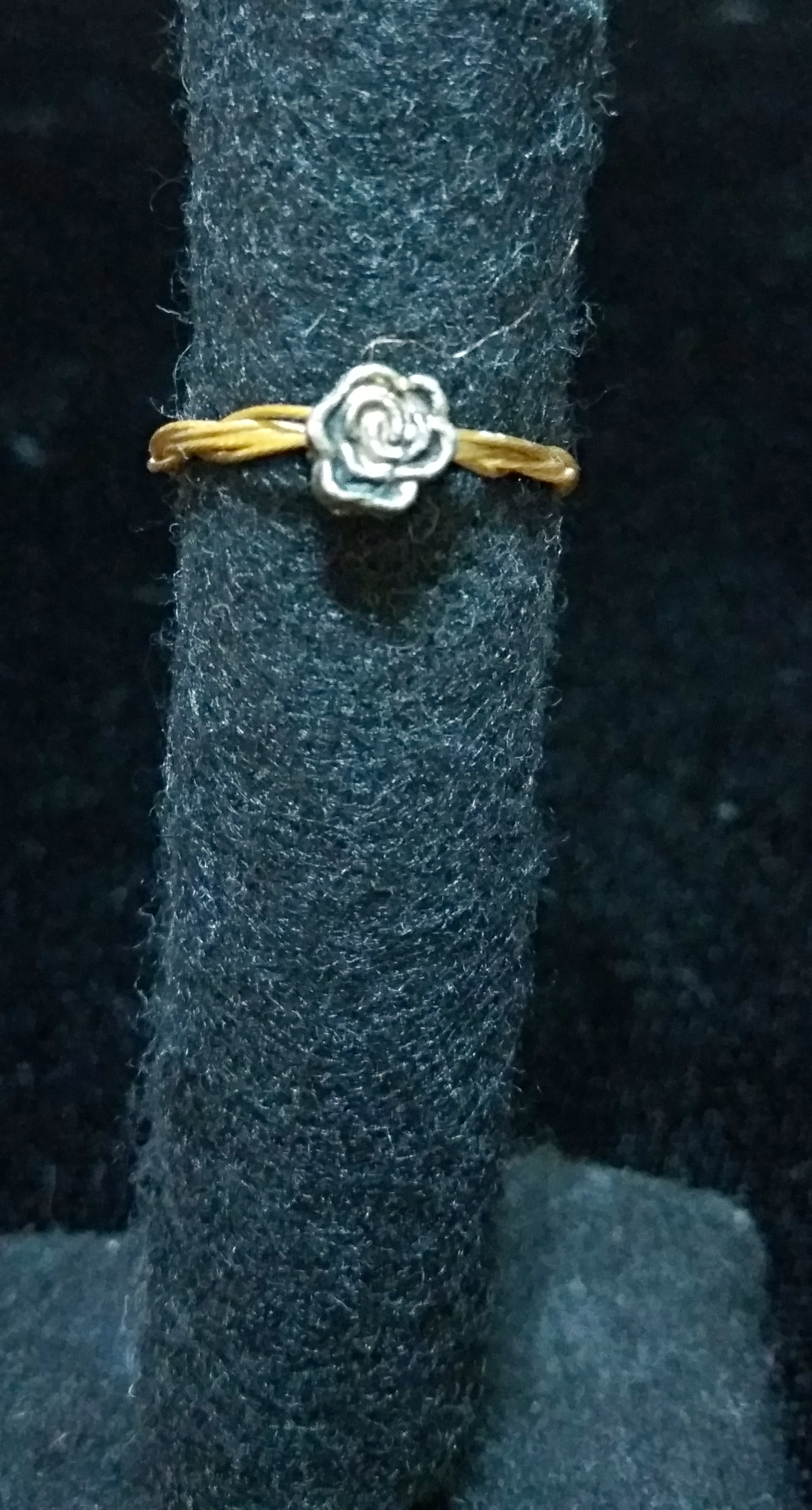 handmade silver flower girls ring