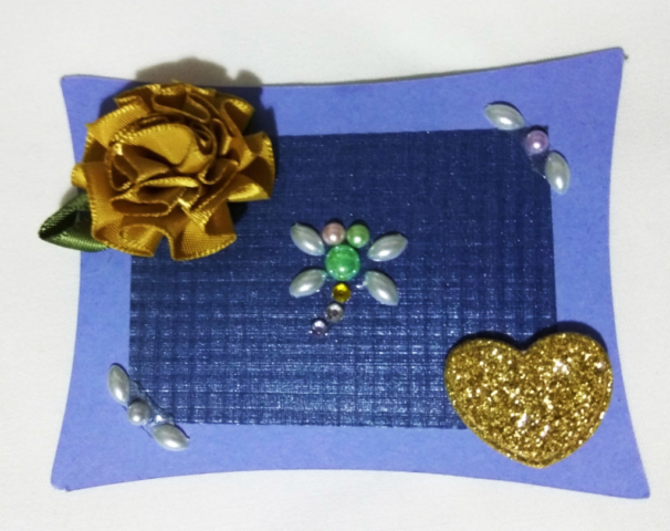 handmade wedding card gold flower and heart