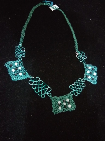 handmade crochet wire twist bead necklace in turquoise