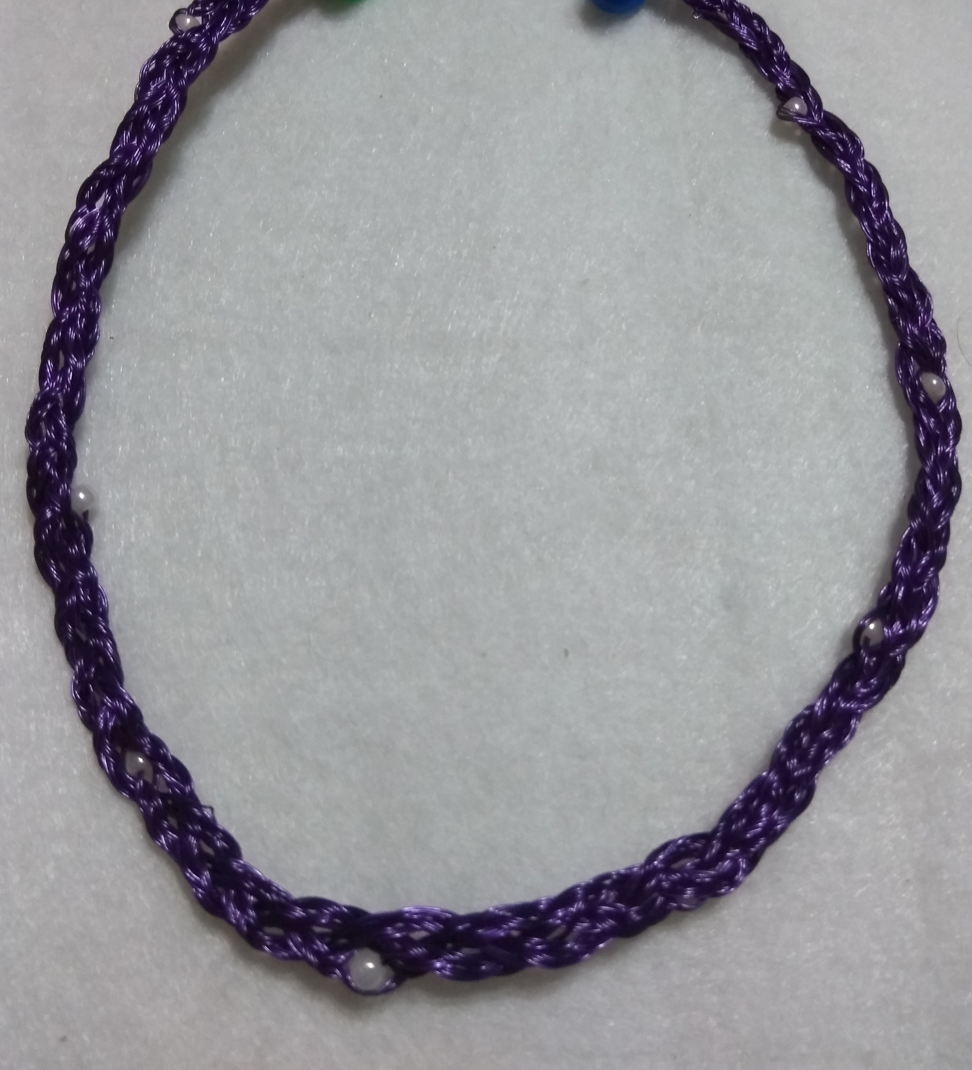 handmade Wire braid pearl bead necklace