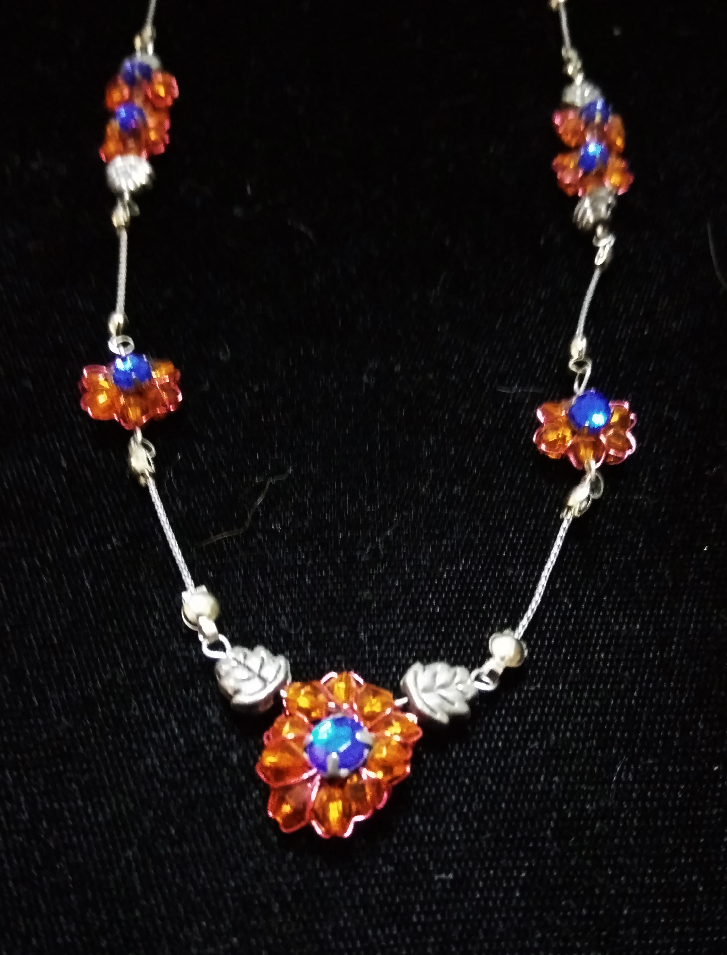 handmade Orange bead flower and silver necklace