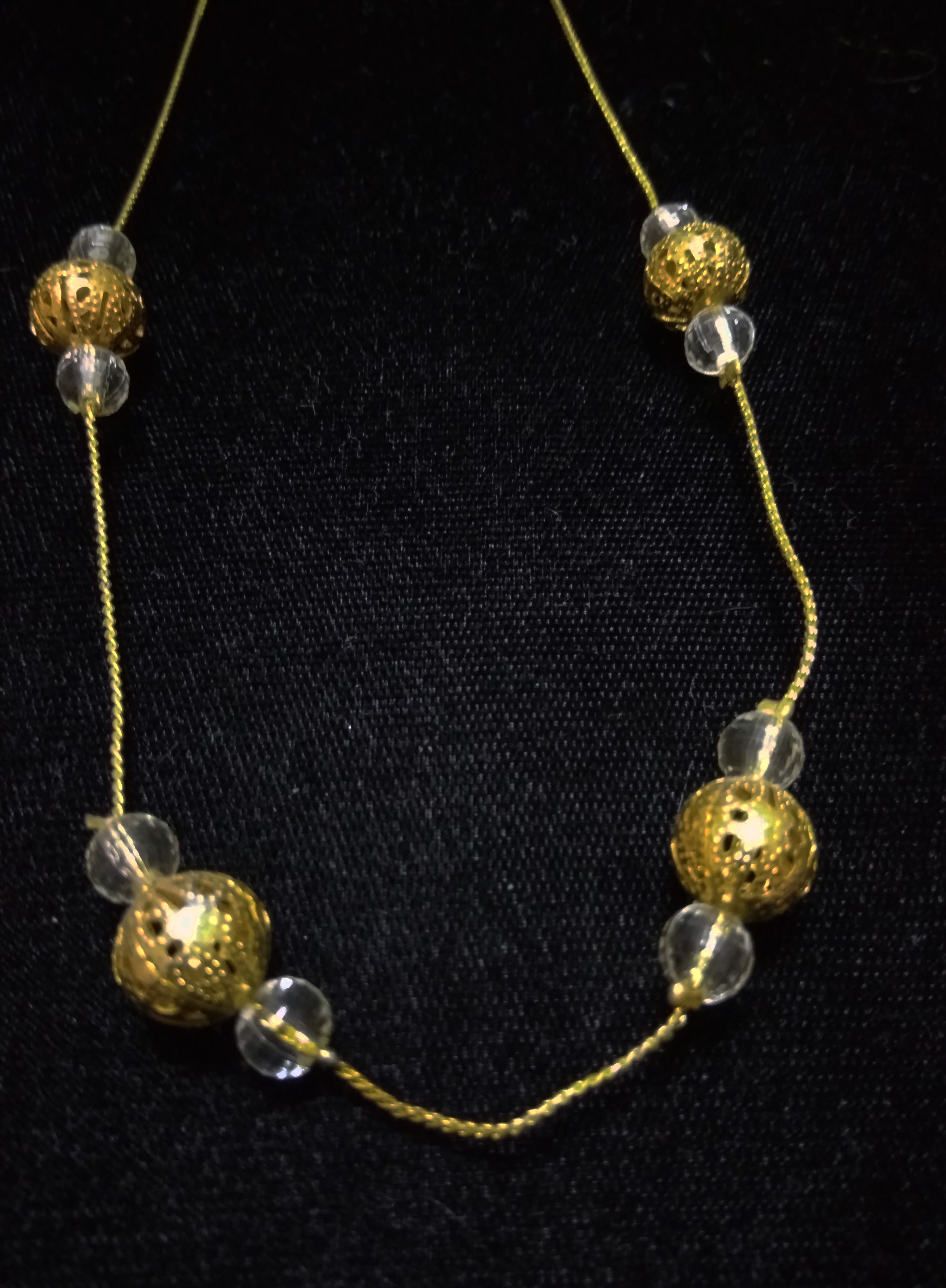 handmade Gold and clear bead necklace
