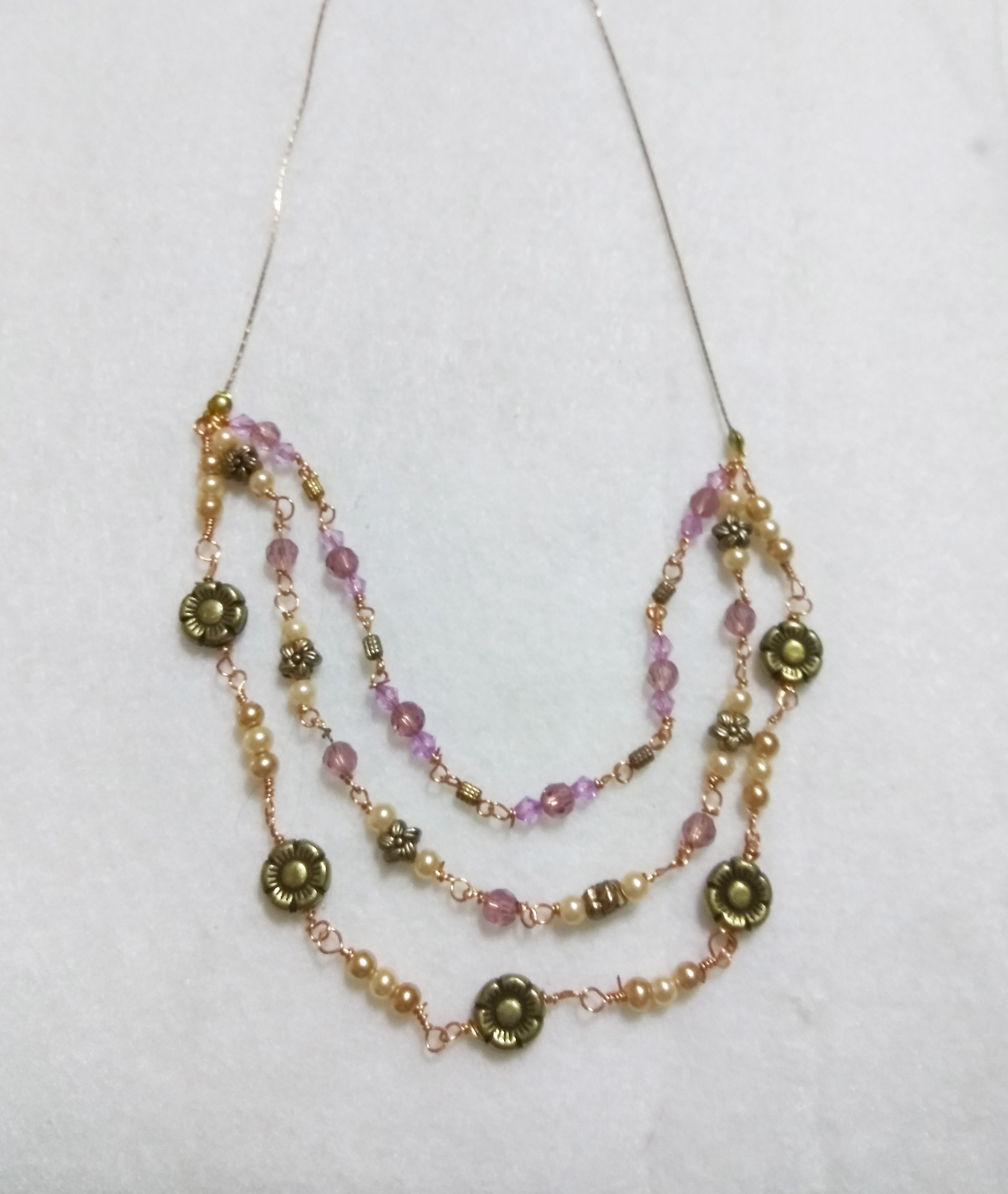 handmade gold flower and pearl bead three tier necklace purple bead