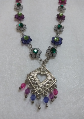 handmade blue, white pink and purple bead flower and silver heart necklace