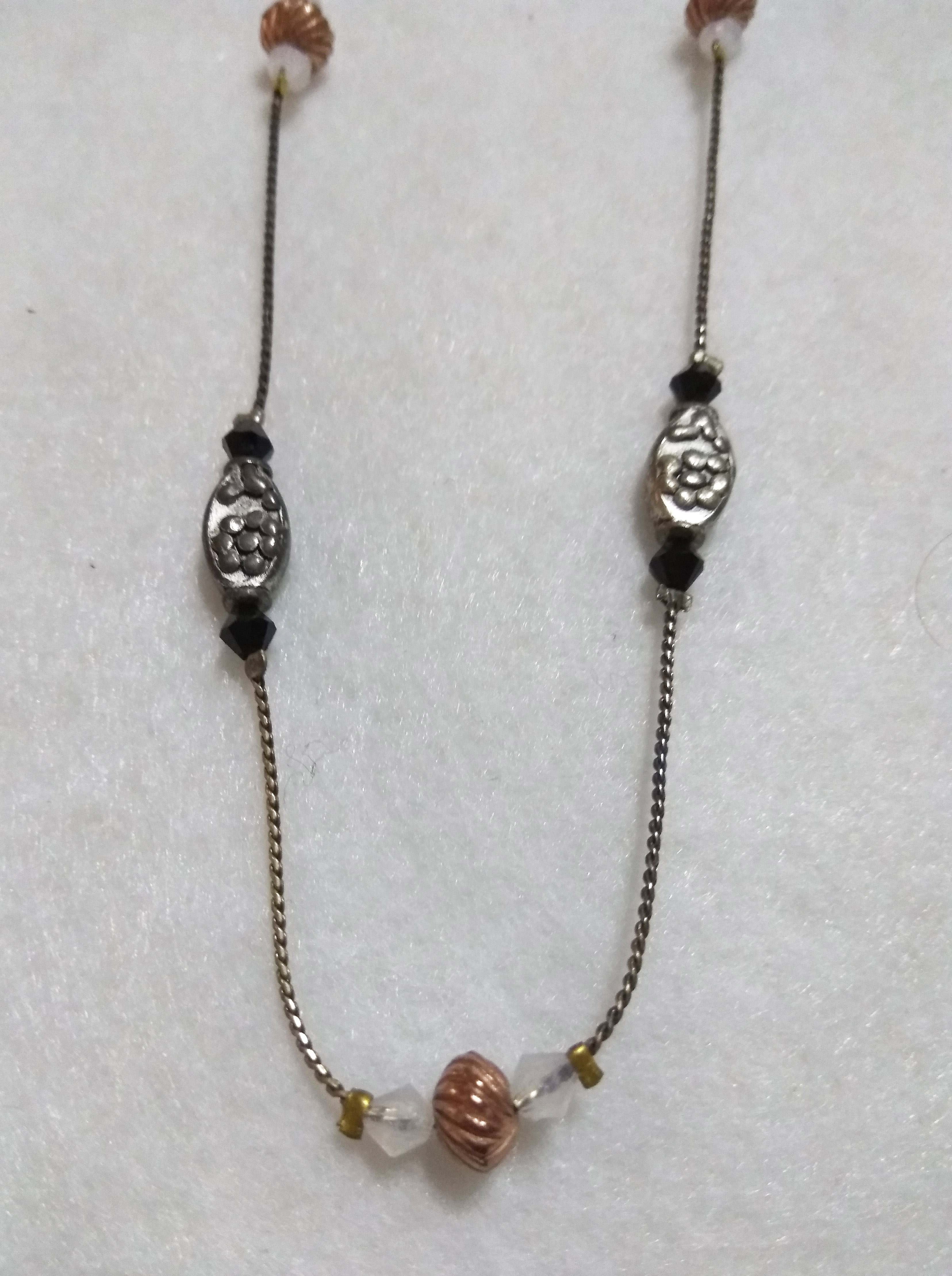 handmade Silver and gold bead necklace