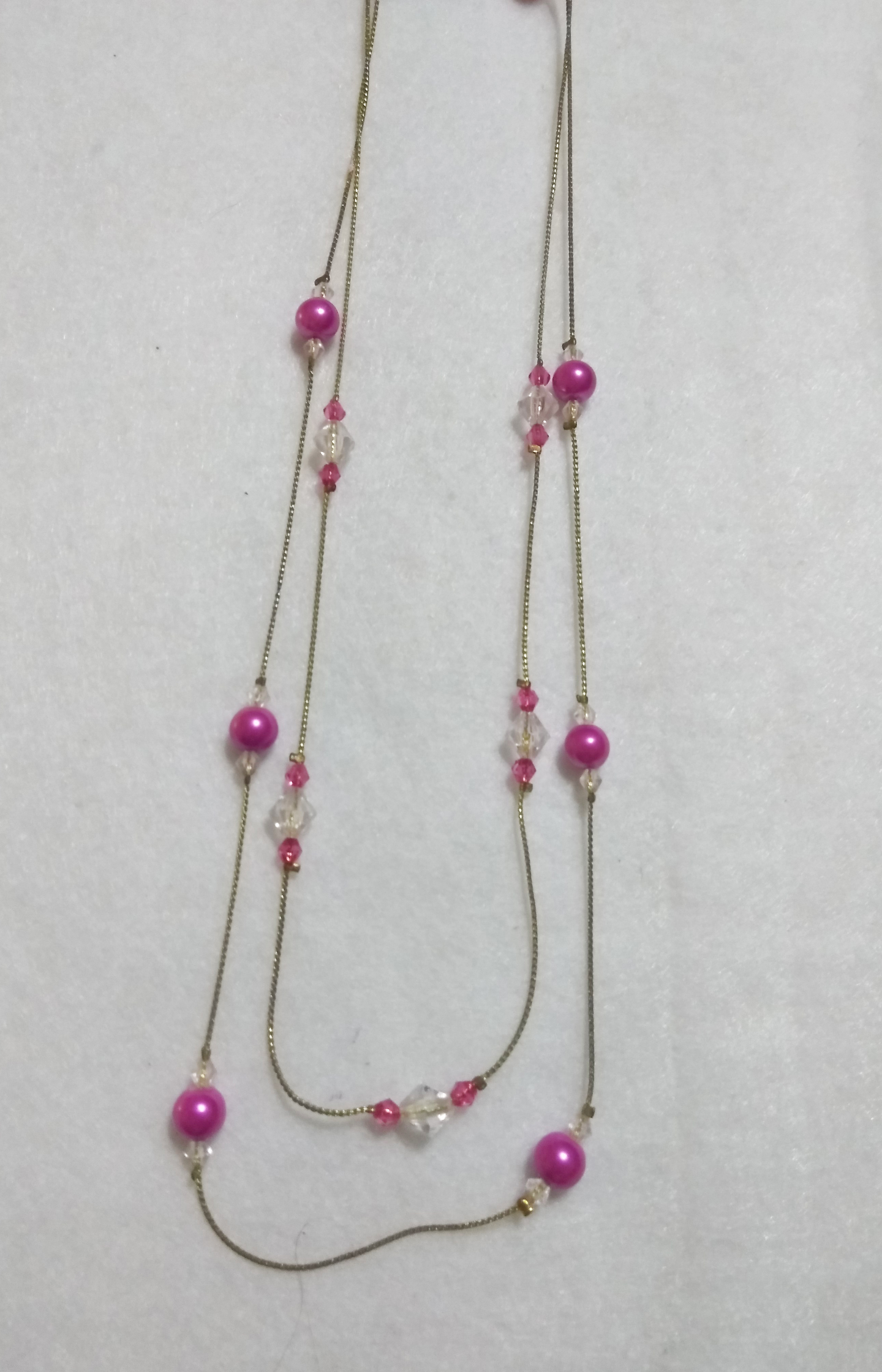 handmade Pink and clear bead gold necklace two tier