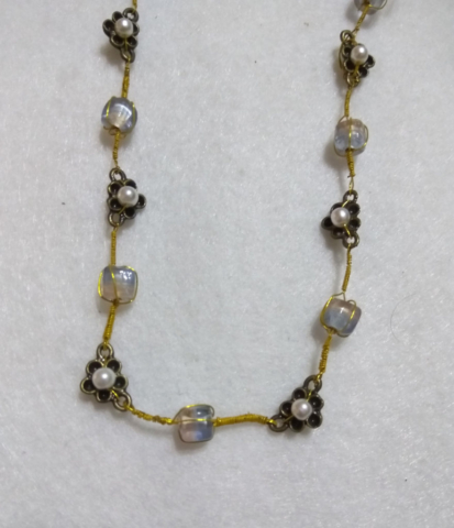 handmade Gold flower and bead necklace