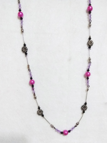 handmade Silver flower bead and pink pearl bead necklace