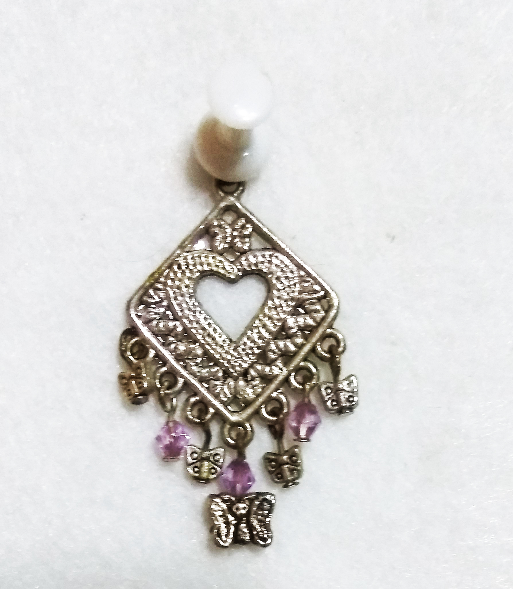 handmade Silver heart and butterfly pendant