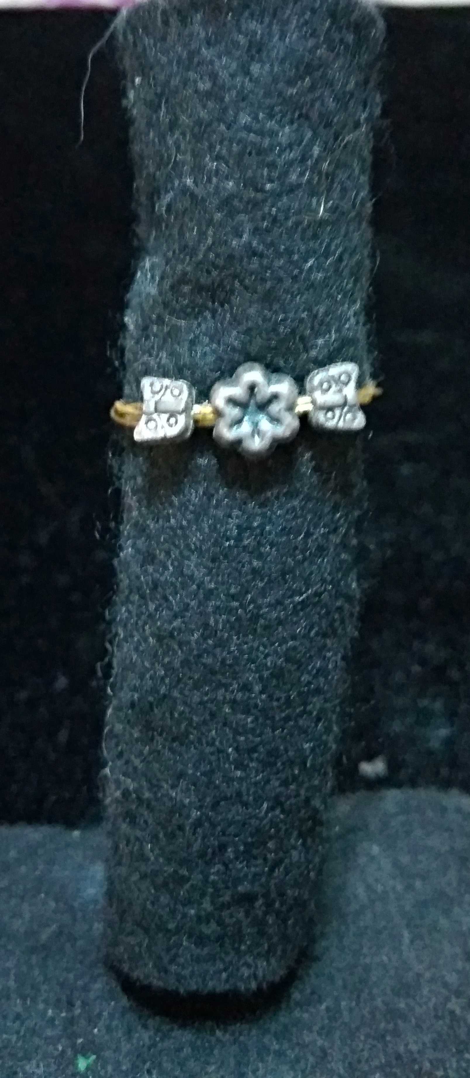 handmade silver flower and butterfly girls ring